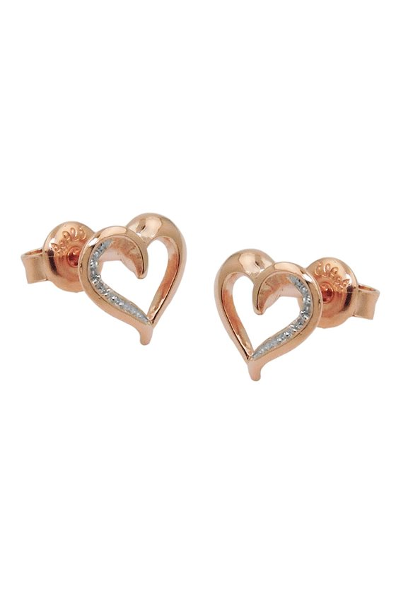EARRINGS RED-GOLDPLATED SILVER 925