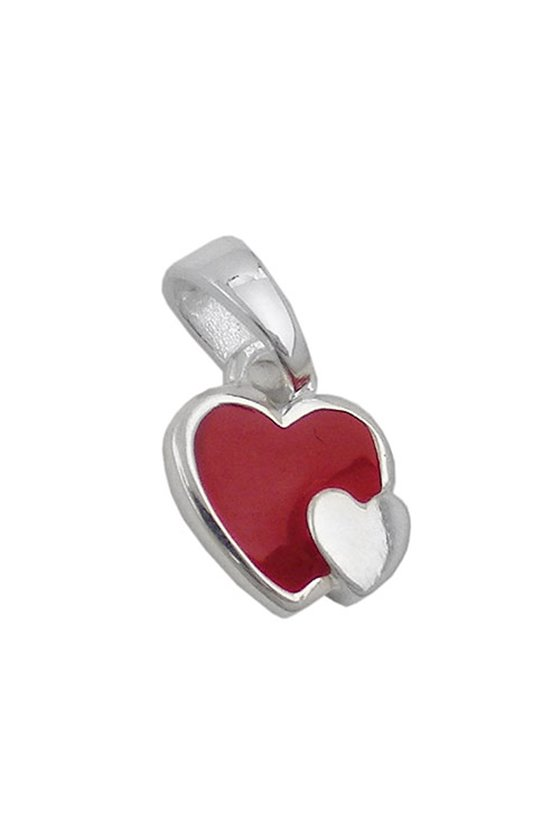 PENDANT TWO HEARTS RED SILVER 925