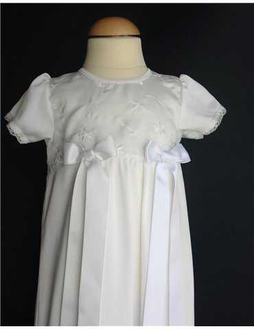 Festklänning i satin med vit spets
