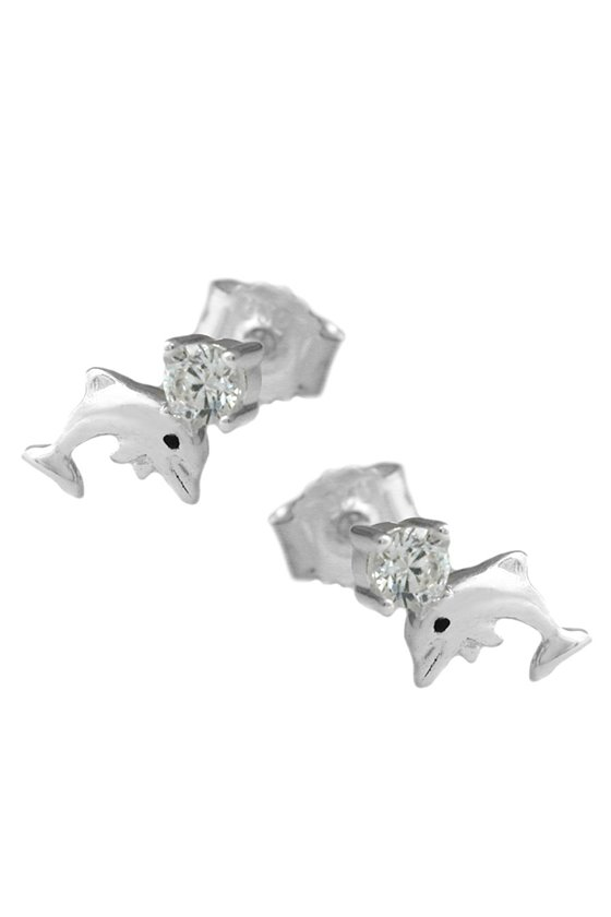 EAR STUDS DOLPHINS WITH ZIRCONIA SILVER 925