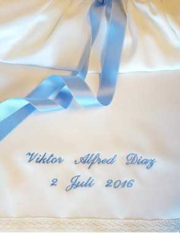 Dopklänning Grace-Princess med blå rosett