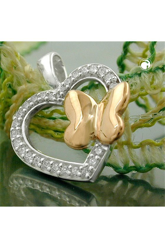 PENDANT HEART WITH ZIRCONIA AND BUTTERFLY SILVER 925