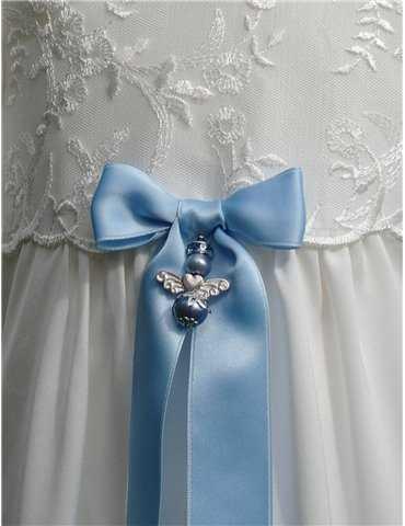 dop sko i duvblått silke