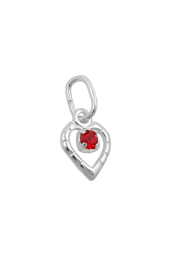 PENDANT GLASS-STONE RED SILVER 925