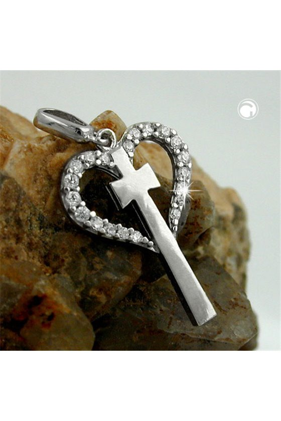PENDANT HEART WITH CROSS SILVER 925