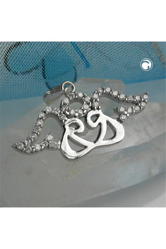 PENDANT 2 ANGELS + GLORIOLE SILVER 925