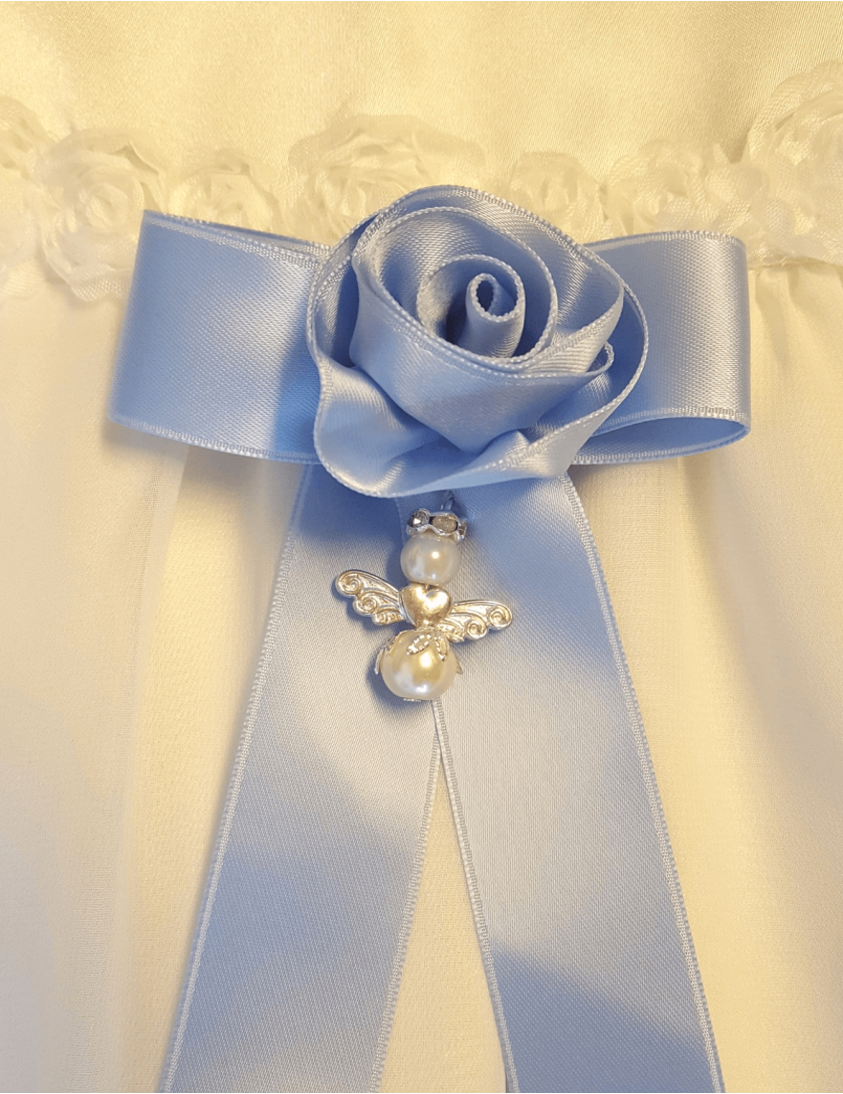 blå Dopklännings rosett med ros