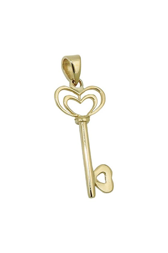 PENDANT HEART AND KEY 9K GOLD