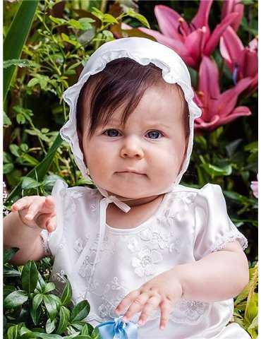Diadem med rosett i vitt för dopdagen