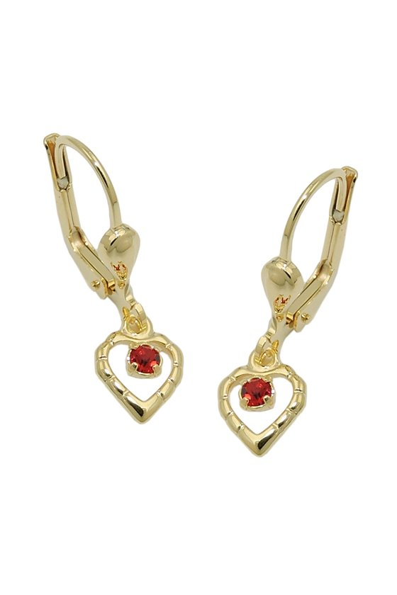 LEVERBACK EARRING HEART RED 8K GOLD