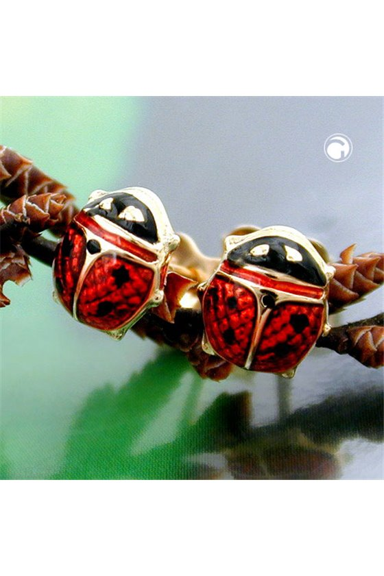 EARRINGS LADYBIRD RED-BLACK 9K GOLD