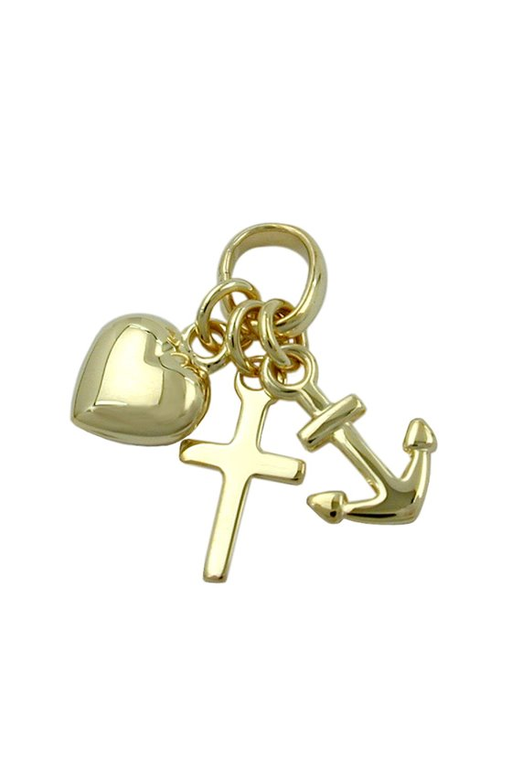 PENDANT FAITH HOPE AND CHARITY 9KT GOLD
