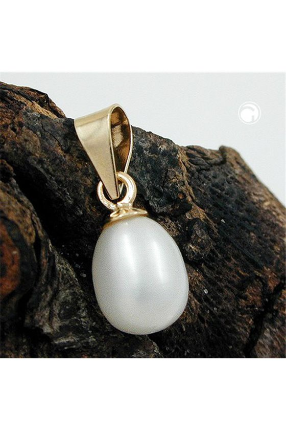 PENDANT OVAL PEARL 11MM 9K GOLD