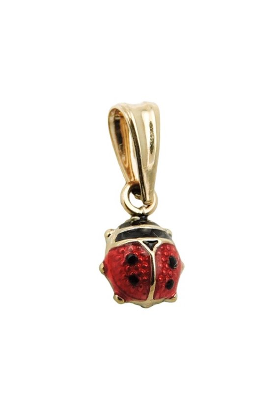 PENDANT LADYBIRD RED/BLACK 9K GOLD