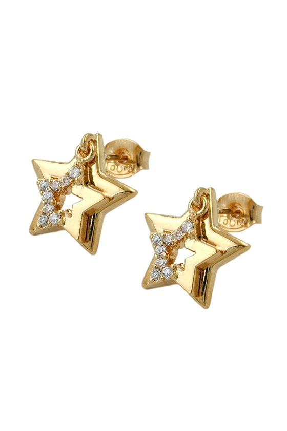 STUD EARRINGS TWO STARS WITH ZIRCONIA 3 MICRON GOLD PLATING
