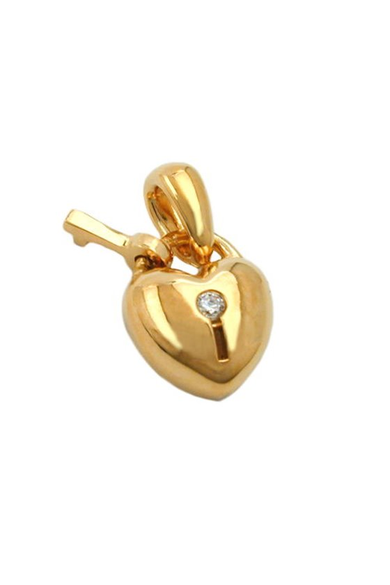 PENDANT HEART LOCK WITH KEY ZIRCONIA 3 MICRON GOLD-PLATED