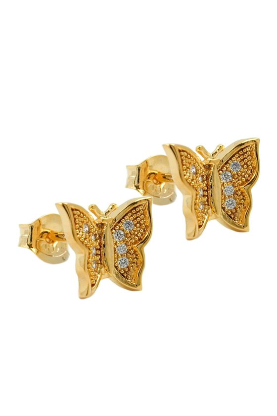 STUD EARRINGS BUTTERFLY WITH ZIRCONIA 3 MICRON GOLD PLATING