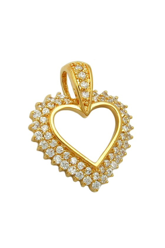 PENDANT LARGE HEART WITH ZIRCONIA 3 MICRON GOLD-PLATED