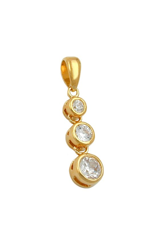 PENDANT 3 ZIRCONIA WITHE 3 MICRON GOLD-PLATED
