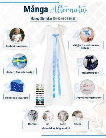 Dopklänning med dopbroderi i rosa toner