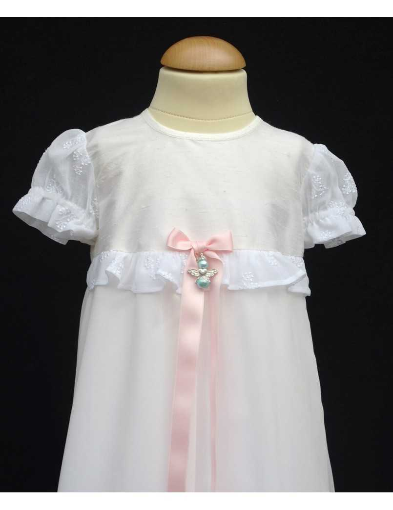 Dopklänning i siden med chiffong kjol