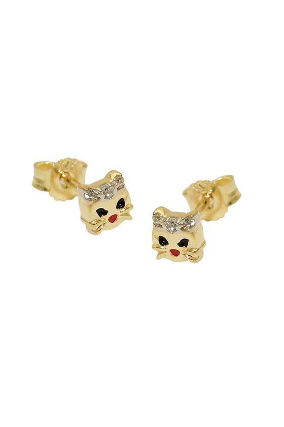 EARRINGS CAT HEAD BICOLOURED 9K GOLD