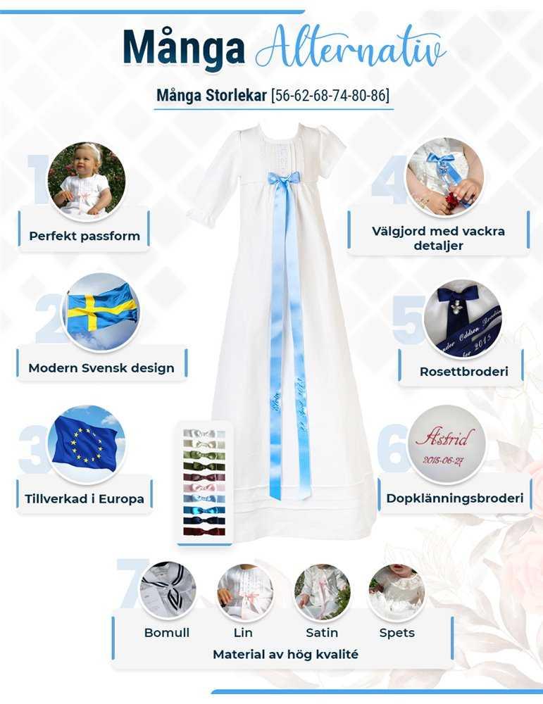 Dopklänning med lila detaljer