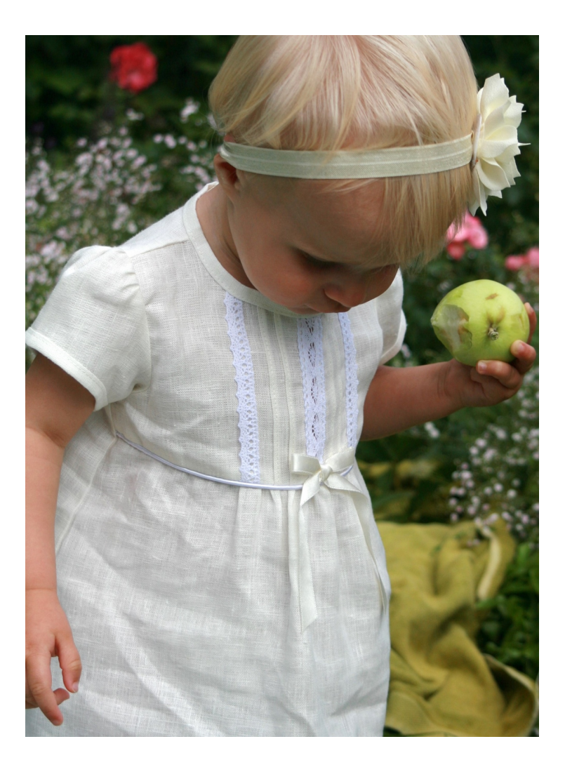 Off white special occasion baby dress in linen